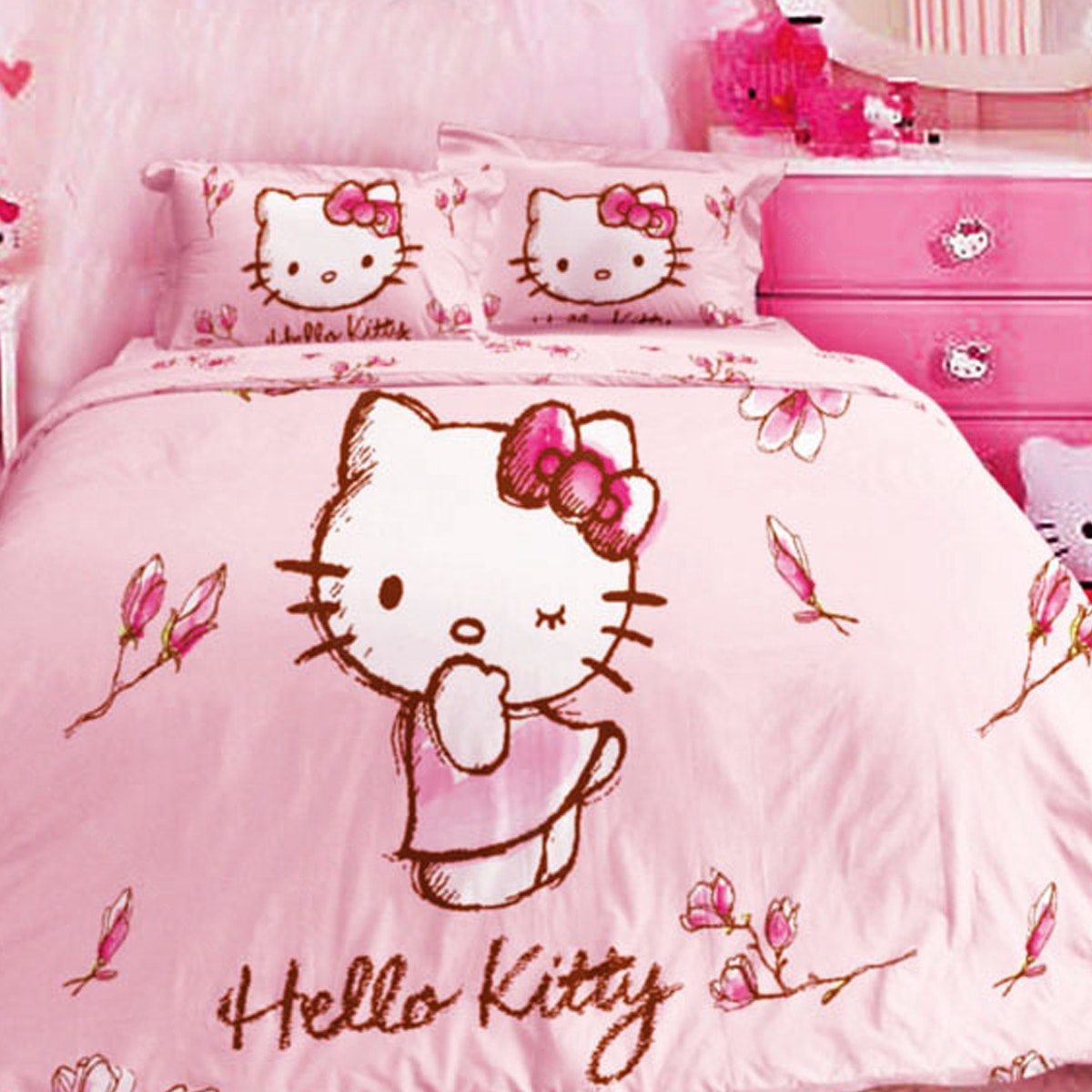 Rise Bedcover Double Hello kitty Magnolia Pink 230x230cm