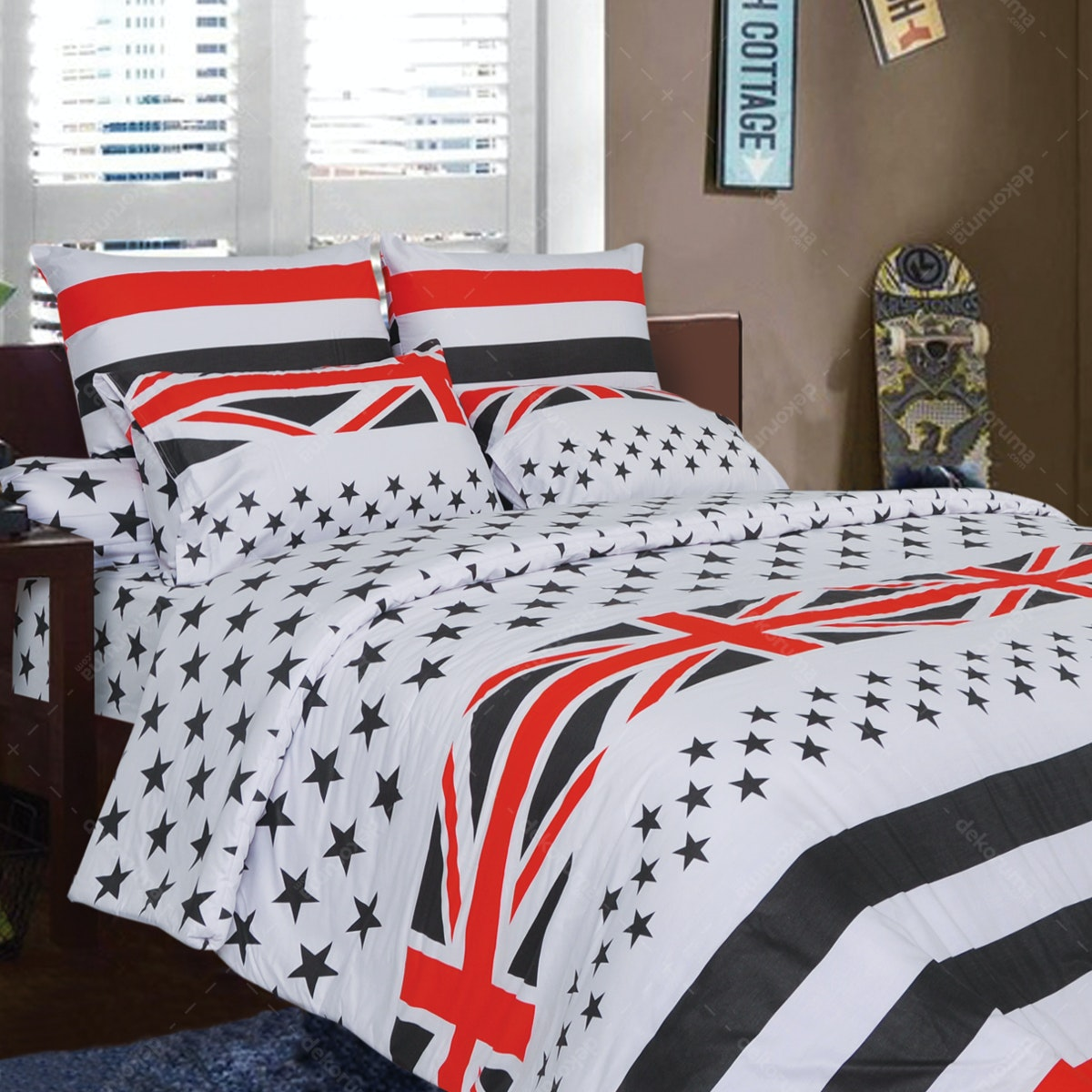 Rise Sprei Set Bedcover Starry Flag Cotton Sateen 160x200x35cm