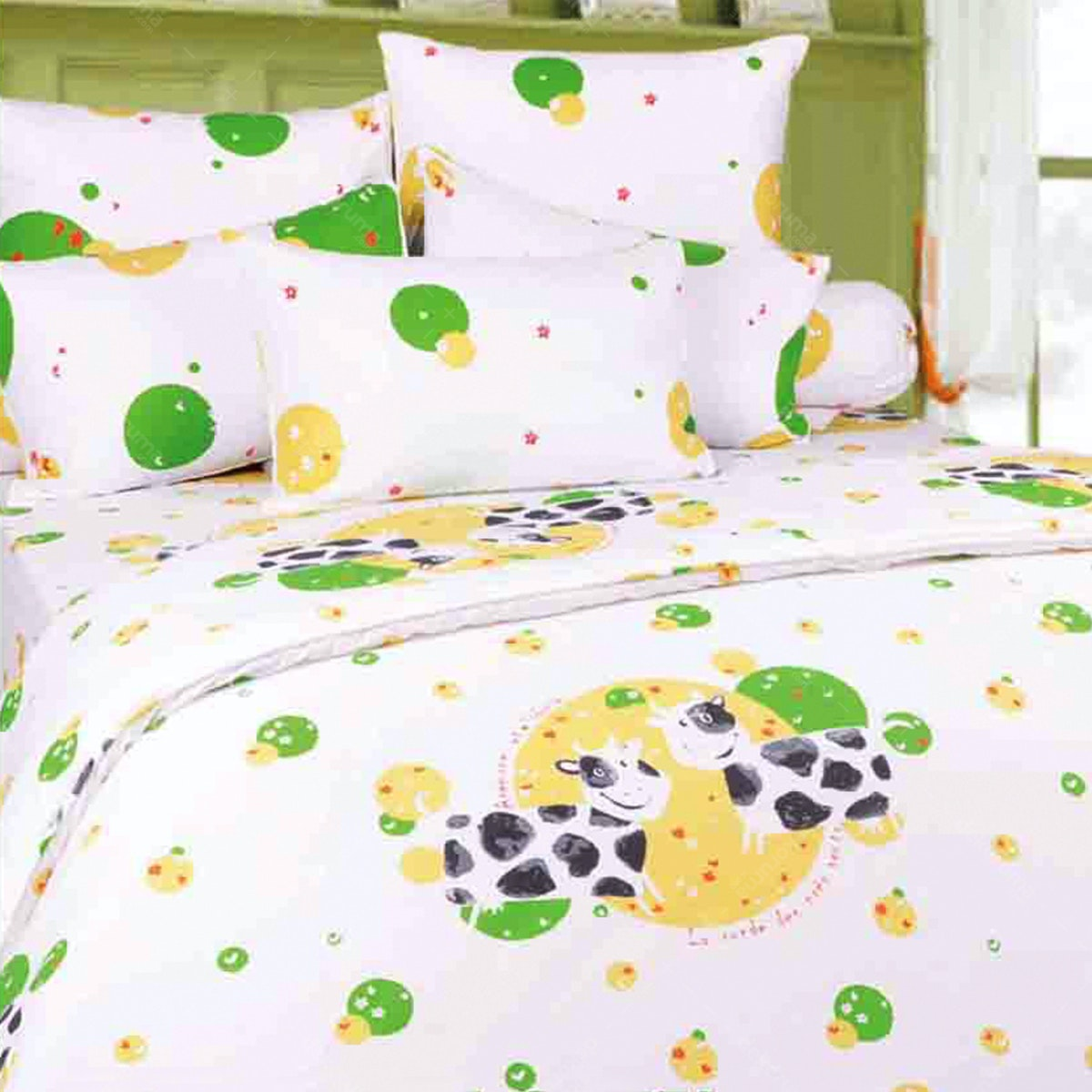 Rise Sprei Set Bedcover Twinkle Cow Green Cotton Combed 160x200x35cm