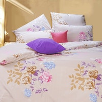 Finezza Rise Bedding Sprei Queen Ukuran 160x200x35cm Motif Flavences