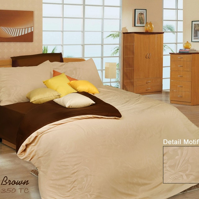 Rise Bedding Sprei Set Bed Cover Bahan Microfiber Motif Potting Brown 120x200x35cm