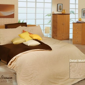 Rise Bedding Sprei Set Bed Cover Bahan Microfiber Motif Potting Brown 180x200x35cm