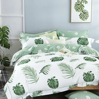 Rise Bedding Bed Cover Bahan Sateen Cotton Motif Monstera Ukuran Double