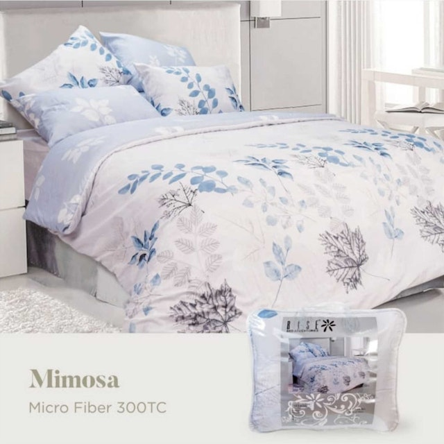 Rise Bedding Finezza Sprei Set Bed Cover Bahan Microfiber Motif Mimosa 120x200x35cm