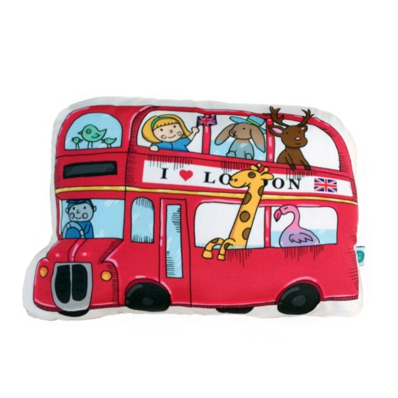 Salse Living Double Decker Bus Plushie Cushion 26&40cm