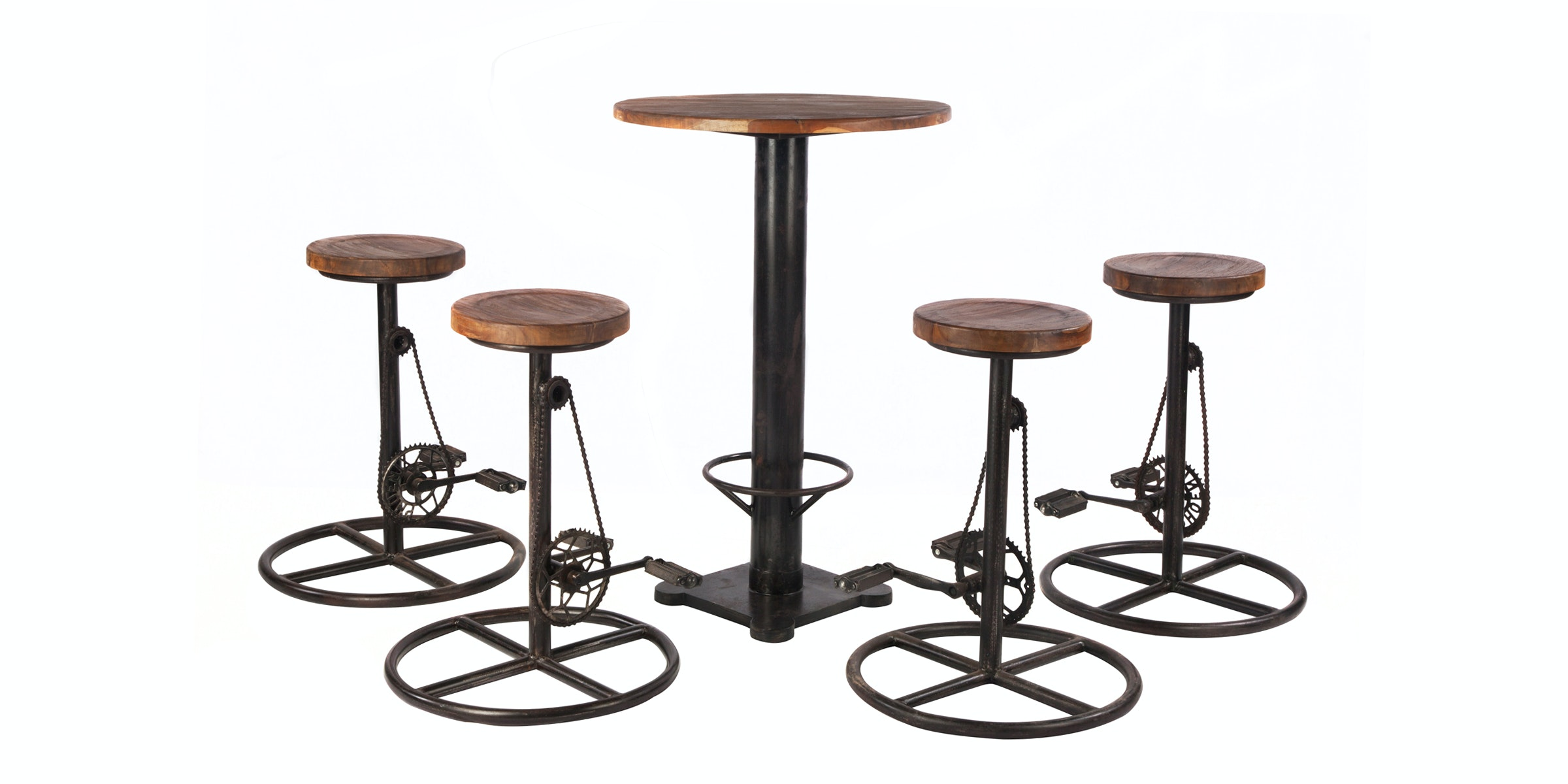Seamus Furniture Circlo Rustic Bar Set Table dengan 4 Barstool