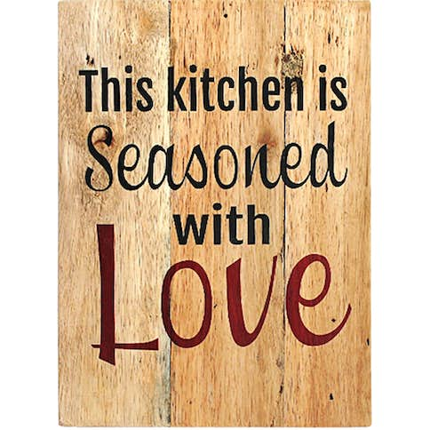 Seruni Living Wood Wall (quote) This kitchen is seasoned with Love  520cb4e566