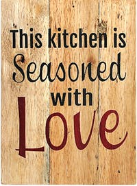 Seruni Living Wood Wall (quote) This kitchen is seasoned with Love'