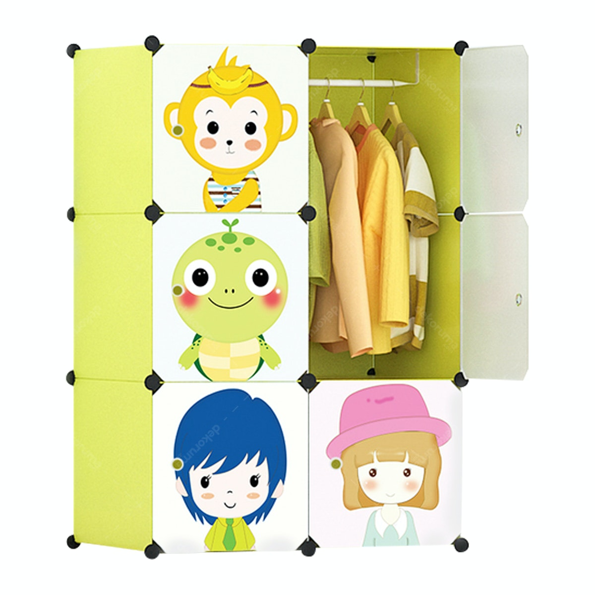 Souvenir Grosir Vintage Lemari Pakaian Portable Anak Animal Cartoon Yellow
