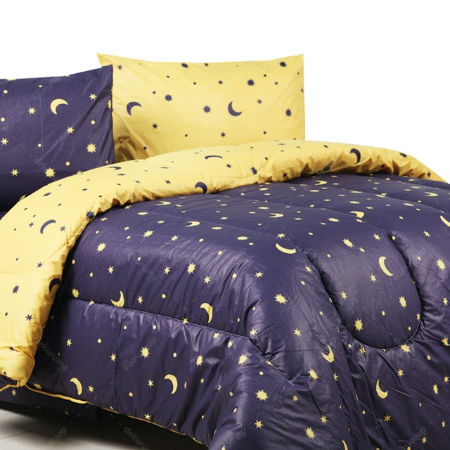 Sierra Bed Cover Dan Sprei Starry Night Navy Mix Kuning 160x200