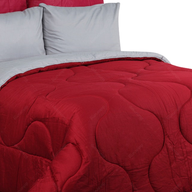 Sierra Bed Cover Dan Sprei Polos Maroon Mix Gray 160x200