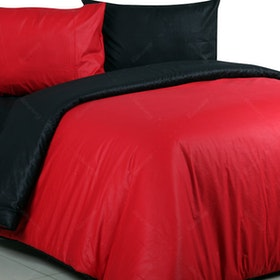 Sierra Bed Cover Dan Sprei Polos Red Mix Black 160x200