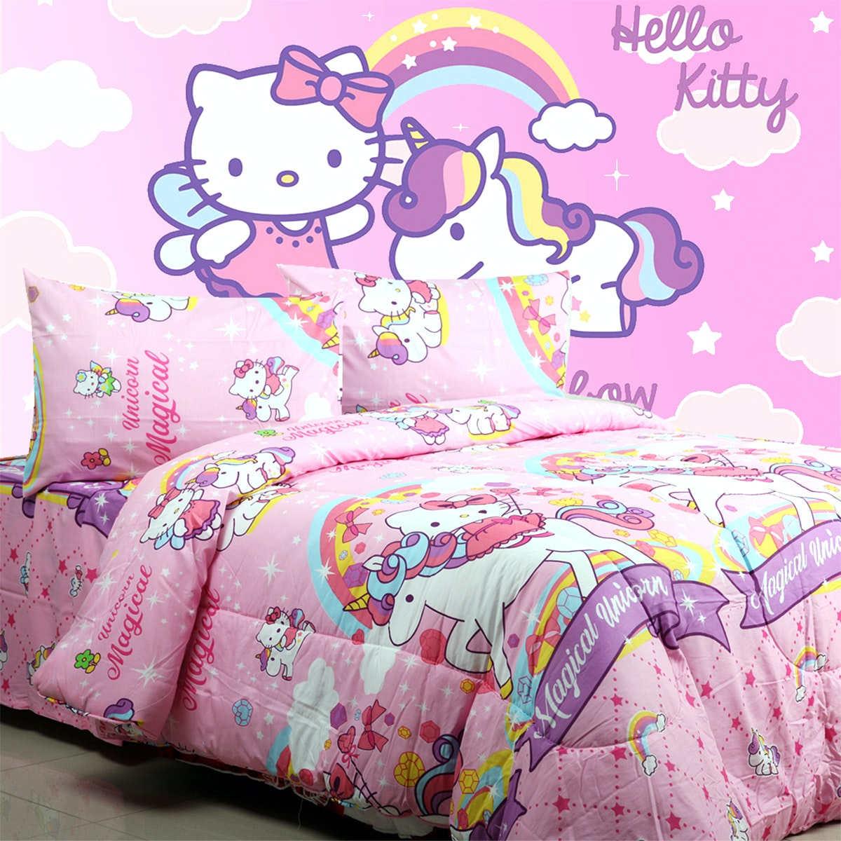 Sierra Sprei Kitty Unicorn Pink 100x200
