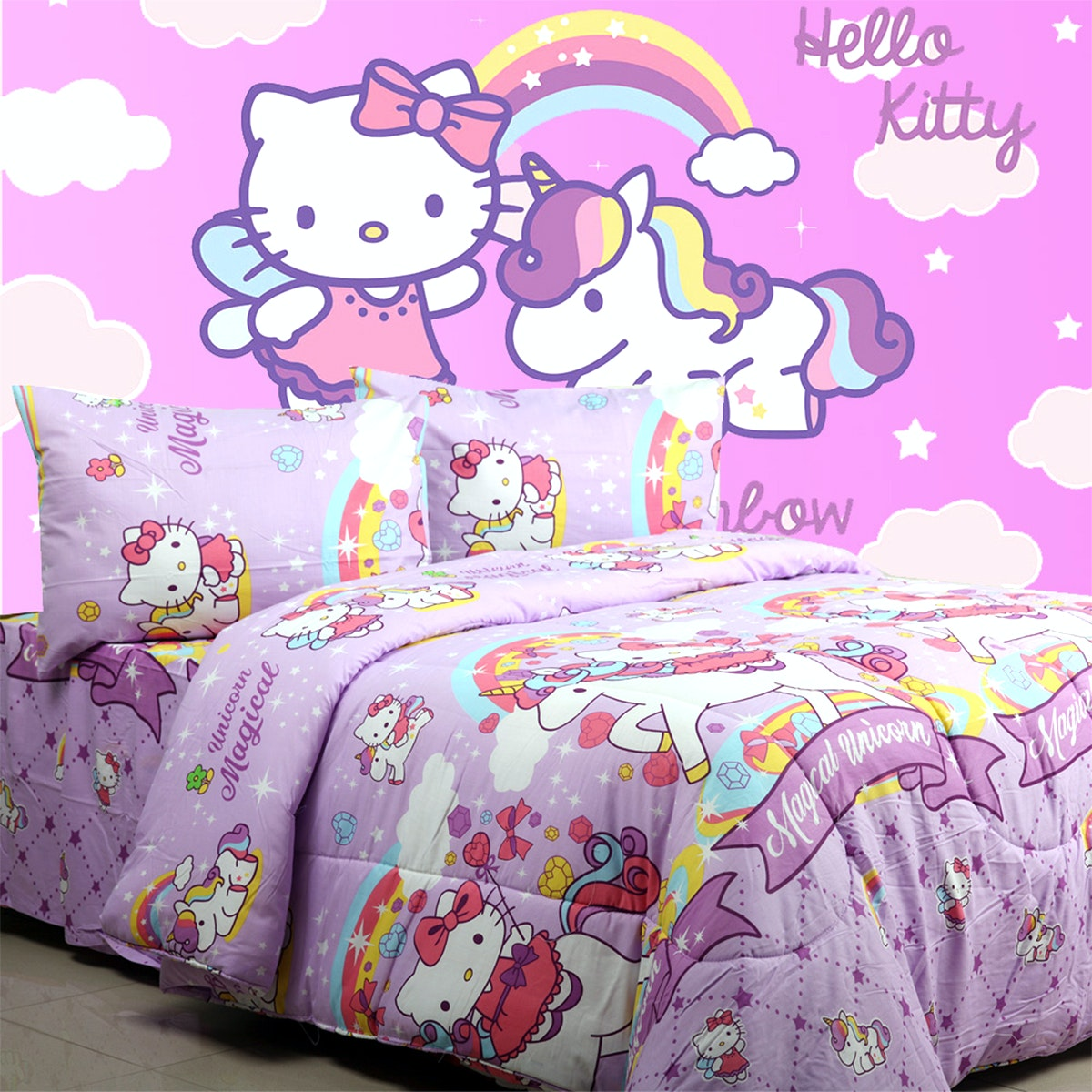 Sierra Sprei Kitty Unicorn Ungu 160x200