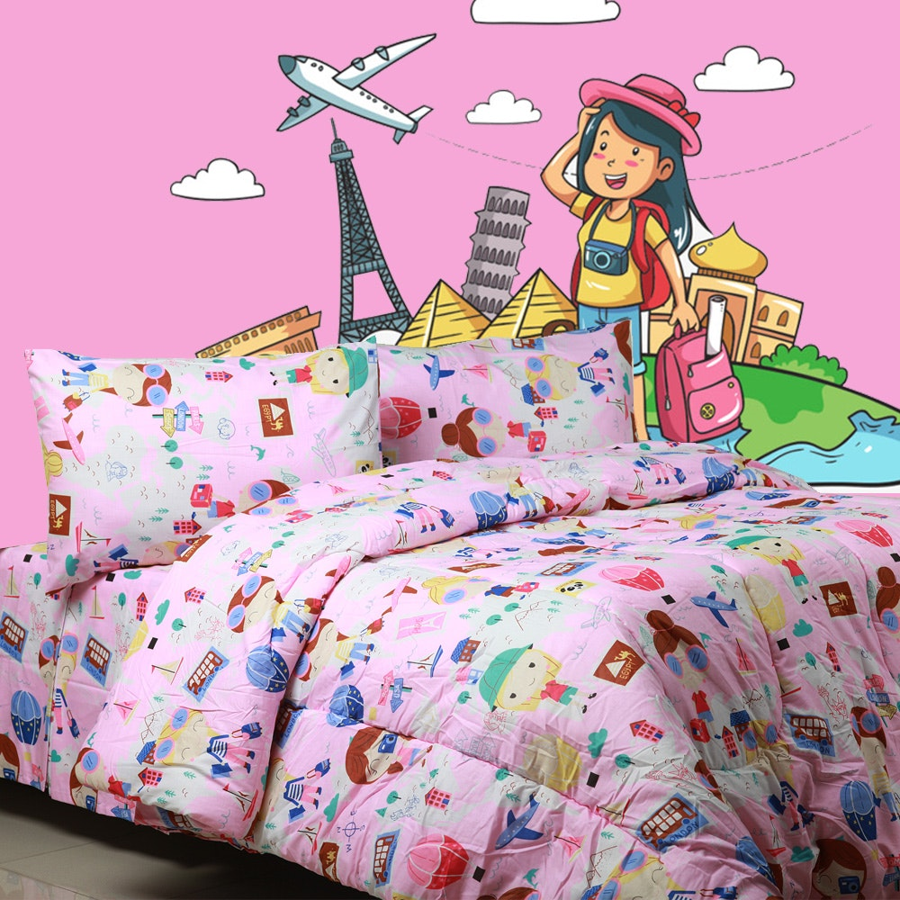 Sierra Sprei World tour pink 160x200
