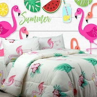 Sierra Sprei Flamingo summer cream 160x200