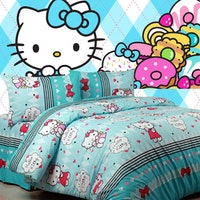 Sierra Sprei Kitty Sweet Biru 180x200
