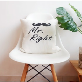 Stiletto In Style Cushion Cover Mr. Right (White) 40 X 40Cm