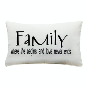 Stiletto In Style Quote Cushion Cover / Sarung Bantal Quote - Lovely Family (White)
