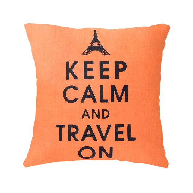 Stiletto In Style Cushion Cover Keep Calm & Travel On (Orange) 40 X 40Cm