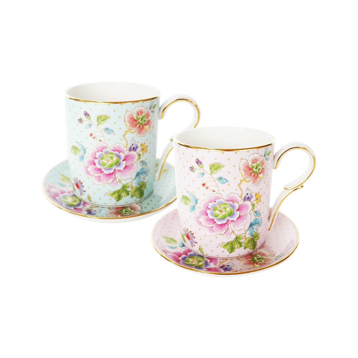 Saint James Premium Tableware Mayfield Mint and Pink Mug Set 4pcs