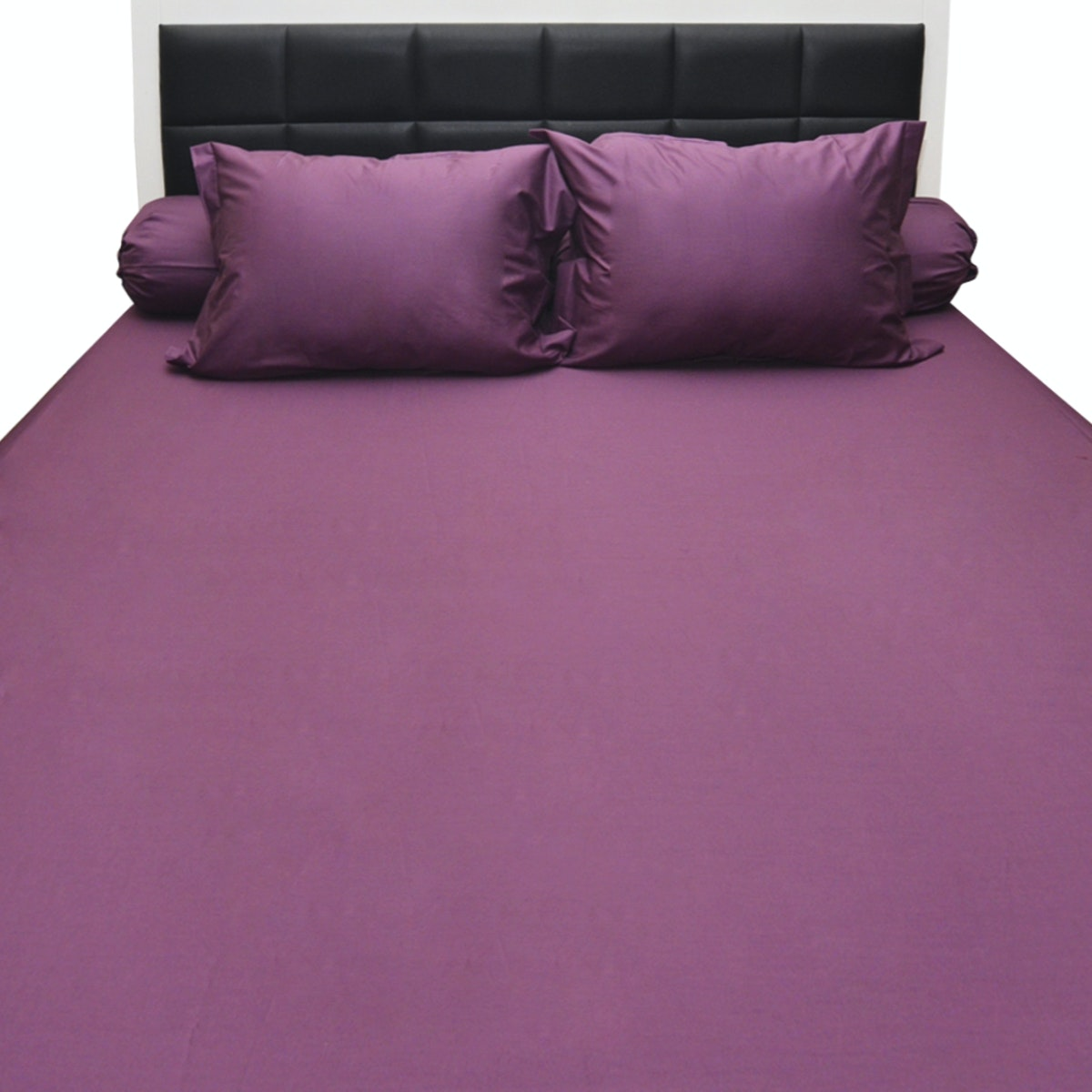 Sleep Buddy Set Sprei Dark Purple Plain Cotton Sateen 160x200x30