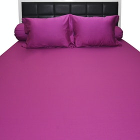 Sleep Buddy Set Sprei dan Bed Cover Fuschia Plain Cotton Sateen 160x200x30