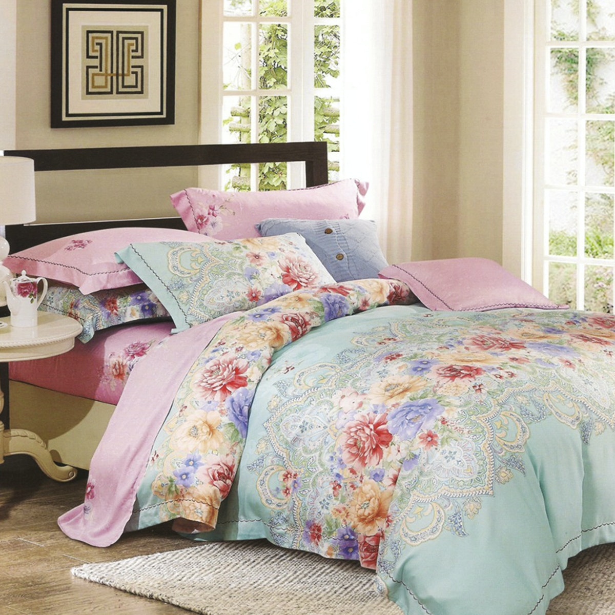 Sleep Buddy Set Sprei dan Bed Cover Floral Classic Tencel 180x200x30