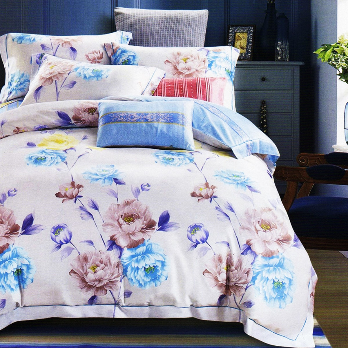 Sleep Buddy Set Sprei dan Bed Cover Blue Floral Line Cotton sateen 180x200x30