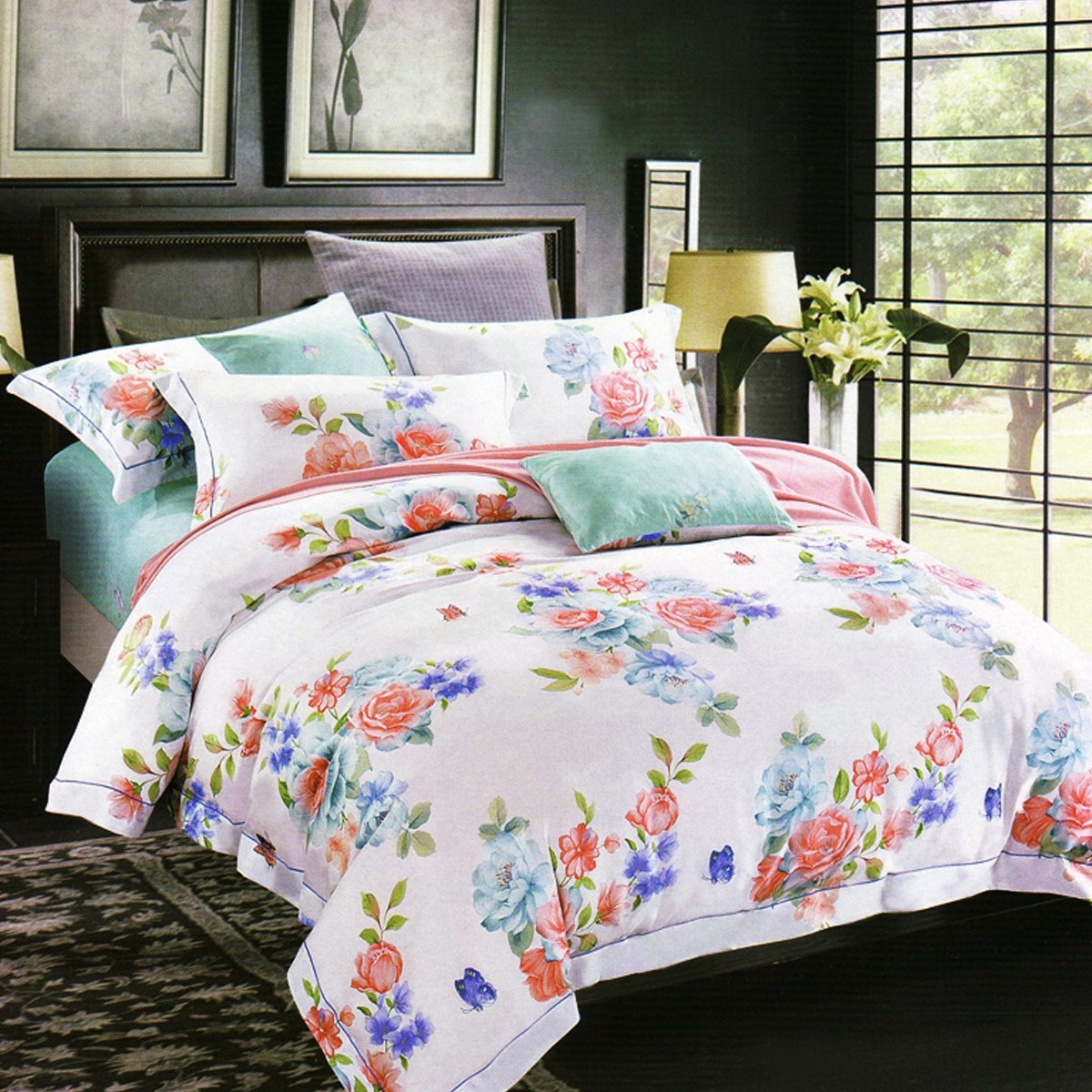 Sleep Buddy Set Sprei dan Bed Cover White Floral Cotton Sateen 180x200x30
