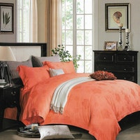 Sleep Buddy Set Sprei dan Bed Cover Silky Flower Light Orange Sutra Tencel 160x200x40