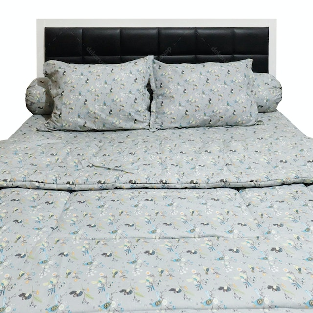Sleep Buddy Set Sprei dan Bed Cover Morning Tweet Grey CVC 180x200x30