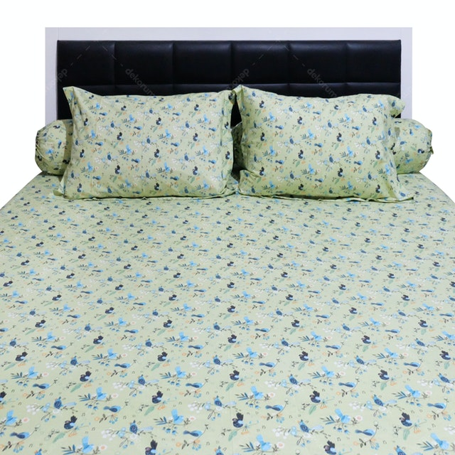 Sleep Buddy Set Sprei Morning Tweet Green CVC 160x200x30