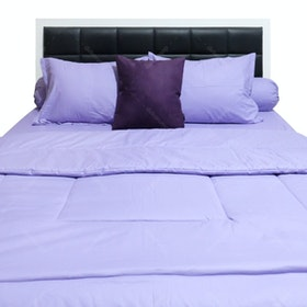 Sleep Buddy Set Sprei dan Bed Cover Plain Purple CVC 200x200x30