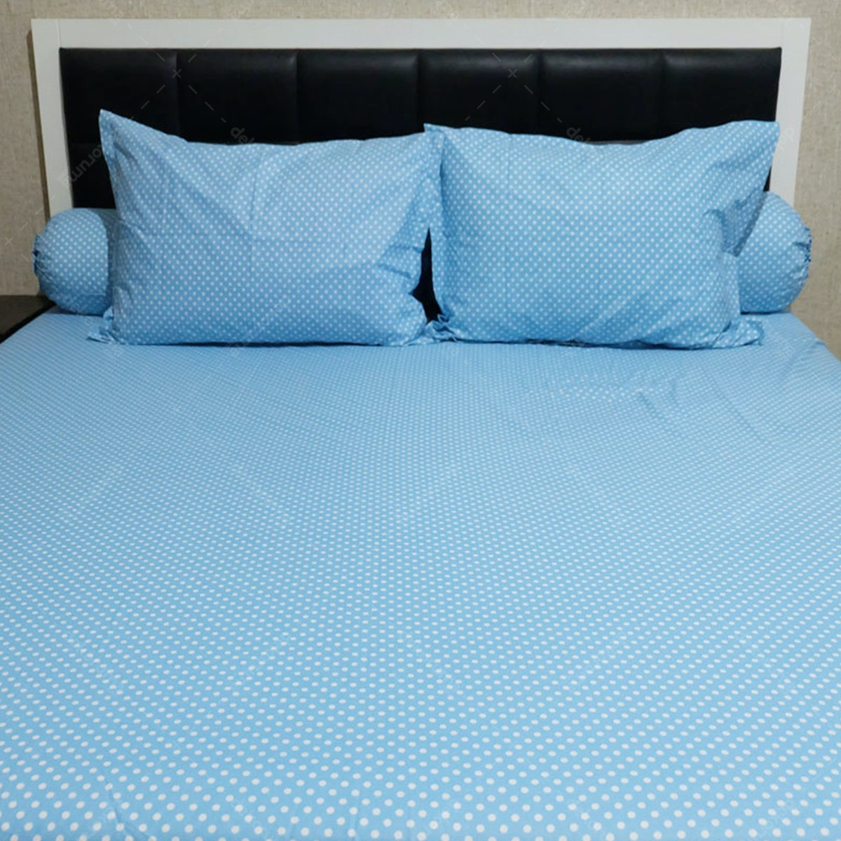 Sleep Buddy Set Sprei Polka Blue CVC 160x200x30