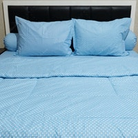 Sleep Buddy Set Sprei dan Bed Cover Polka Blue CVC 120x200x30