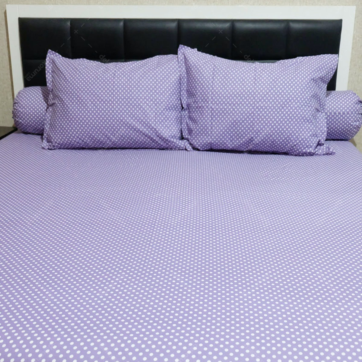 Sleep Buddy Set Sprei Polka Purple CVC 160x200x30