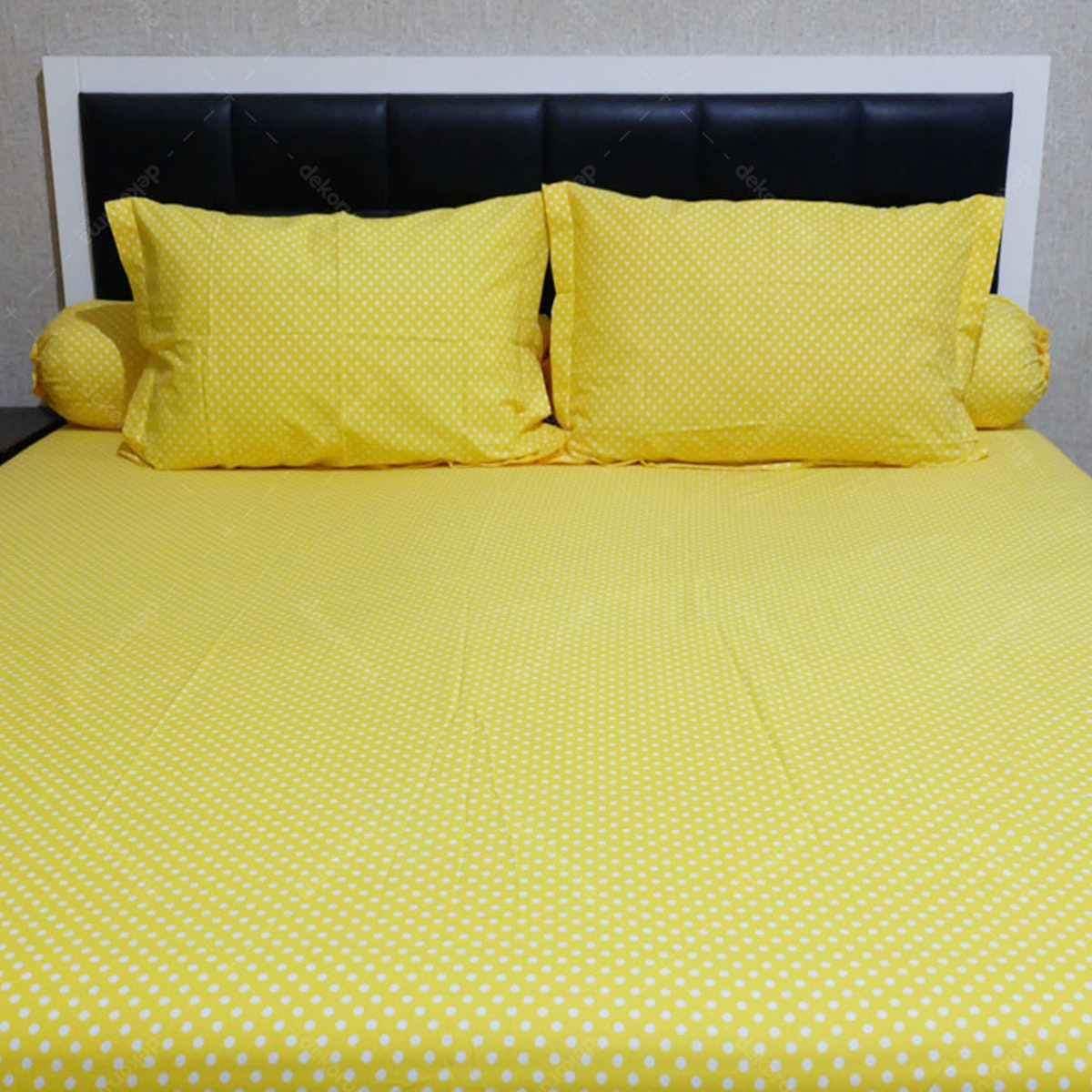 Sleep Buddy Set Sprei Polka Yellow CVC 160x200x30
