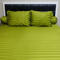 Sleep Buddy Set Sprei Stripe Green Sutra Tencel 160x200x40