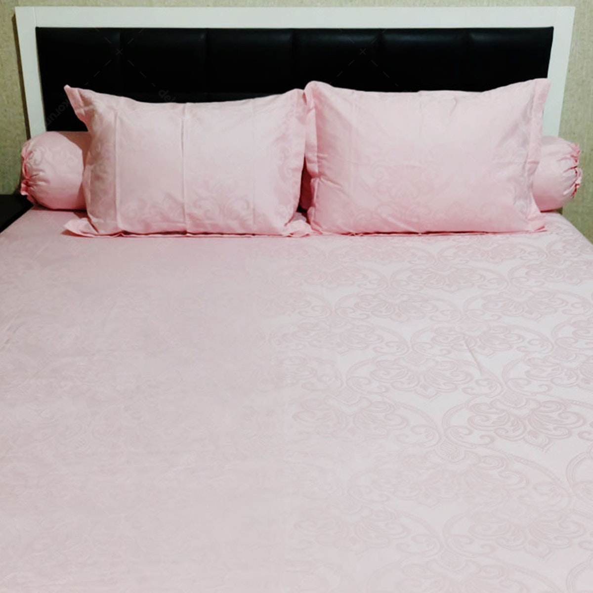 Sleep Buddy Set Sprei Pink Victorian Jacquard Cotton 180x200x40