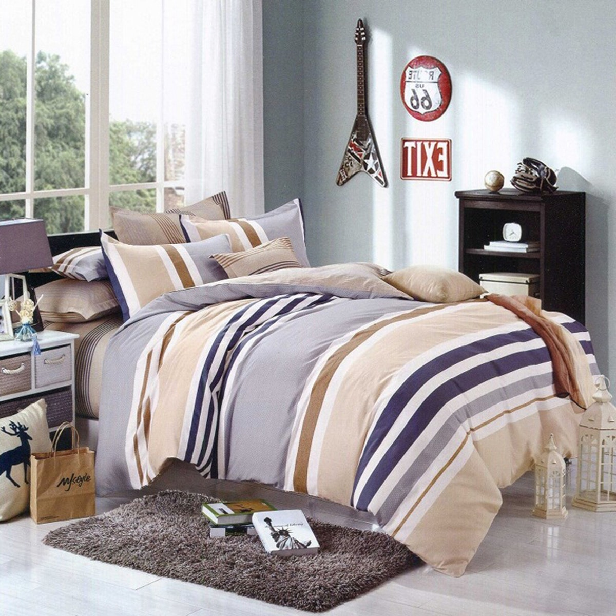 Sleep Buddy Set Sprei Dan Bed Cover Brown Line Katun Taiwan 160X200X30