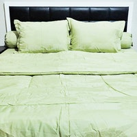 Sleep Buddy Set Sprei Dan Bed Cover Leaf Olive Green Jacquard Cotton 120x200x40cm