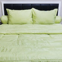 Sleep Buddy Set Sprei Dan Bed Cover Green Leaf Jacquard Cotton 120x200x40cm