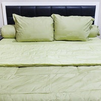 Sleep Buddy Set Sprei Dan Bed Cover Leaf Mix Green Jacquard Cotton 120x200x40