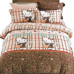 Sleep Buddy Set Sprei dan bed cover Leopard Kitty Sutra Aloe vera 120x200x30