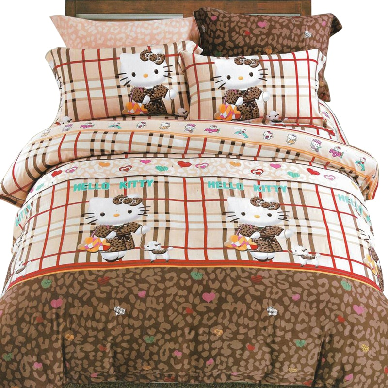Sleep Buddy Set Sprei dan bed cover Leopard Kitty Sutra Aloe vera 180x200x30