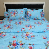 Sleep Buddy Set Sprei Dan Bed Cover Blue Sapporo Cvc 160x200x30