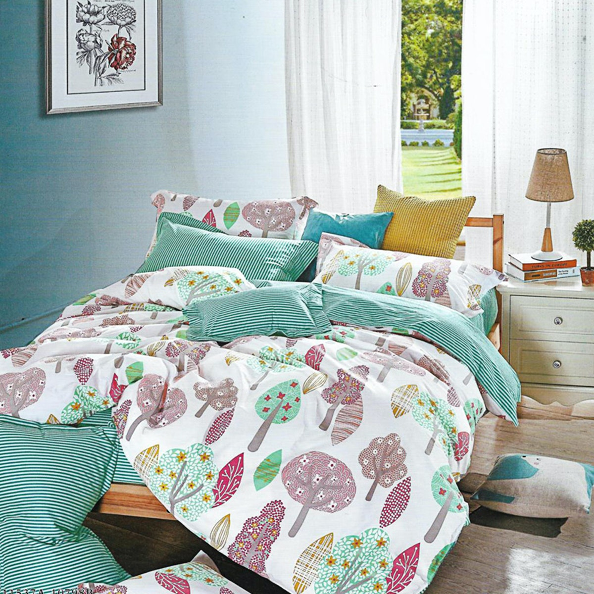 Sleep Buddy Set Sprei dan Bed Cover Greeny Garden Cotton Sateen 180x200x30