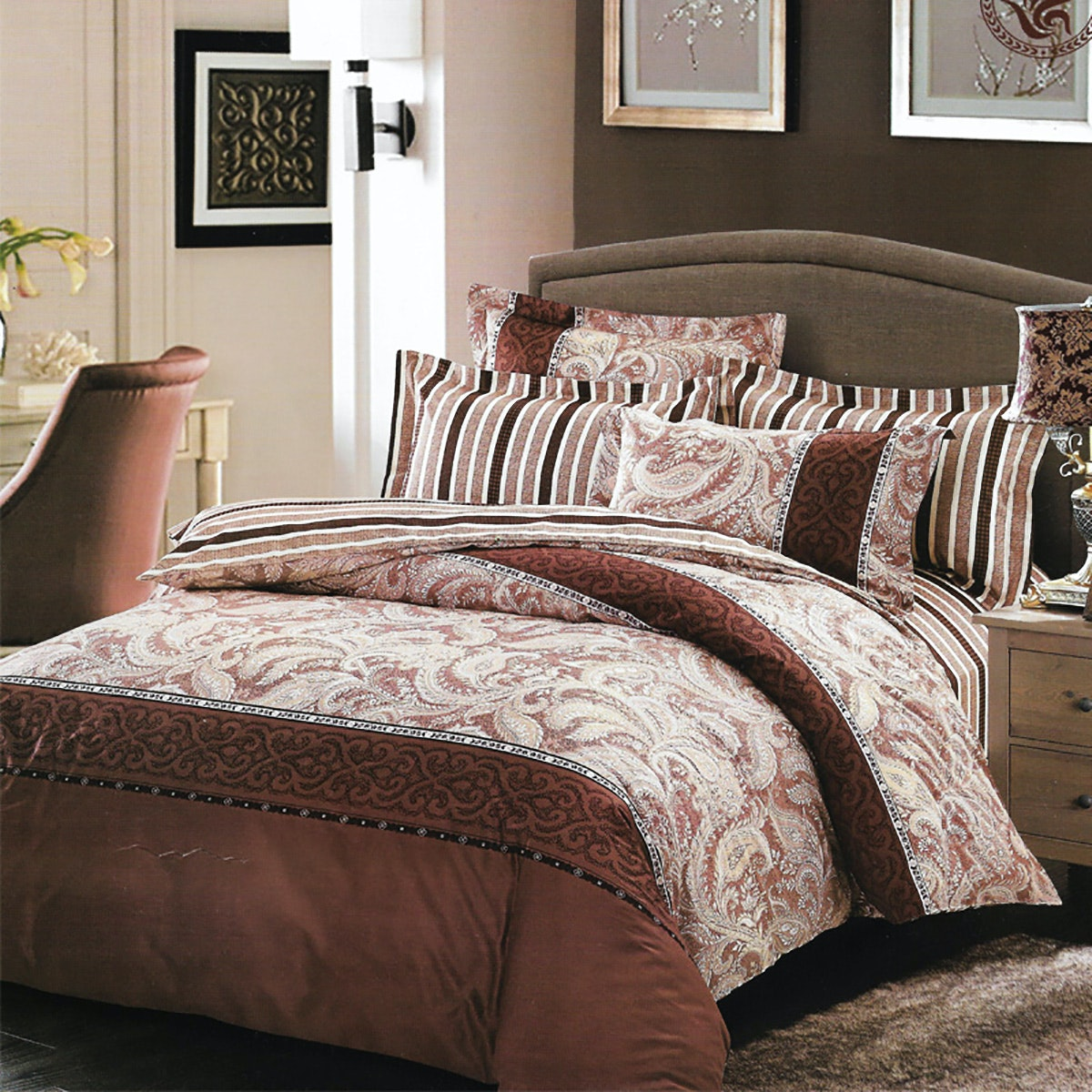 Sleep Buddy Set Sprei Dan Bed Cover Brown Classic Cotton Sateen 160x200x30