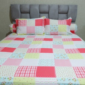 Sleep Buddy Set Sprei Savanah Pink CVC 160x200x30